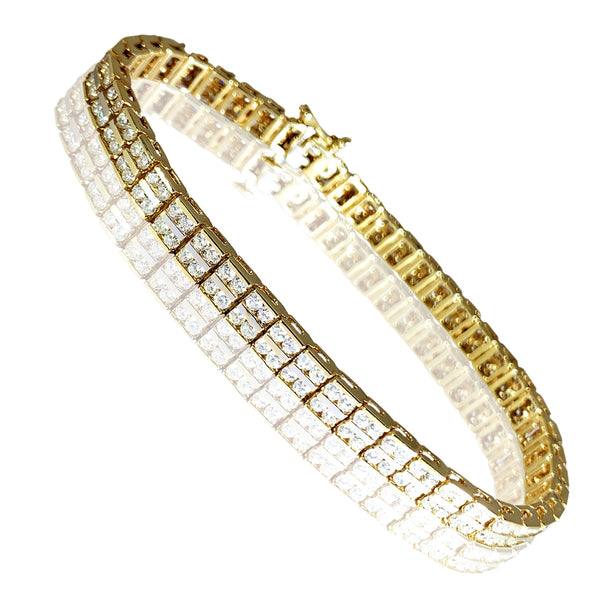 14K Yellow Gold Gorgeous Womens Bracelet with Double Line Round Diamonds 5.78 ct