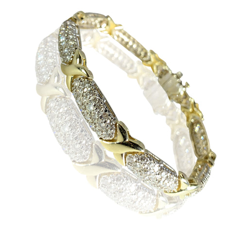 14K Yellow Gold Wonderful Design Diamonds Womens Bracelet 7.78 ct