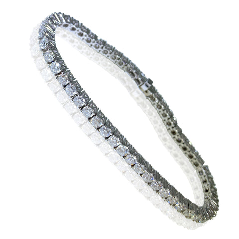14K White Gold Diamonds Tennis Womens Bracelet 6.98 ct