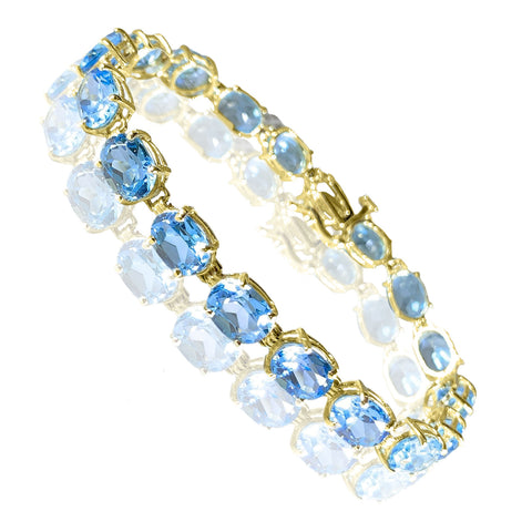14K Yellow Gold Blue Topaz Womens Bracelet