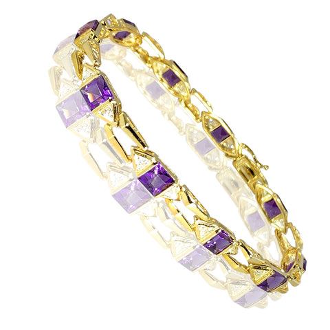 14K Yellow Gold Design with Amethysts and Diamonds 0.28 ct