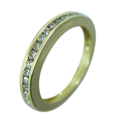 14 KT YELLOW GOLD ROUND DIAMOND WEDDING BAND - 0.41 CT