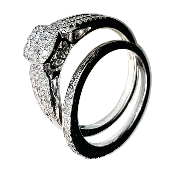 10 KT WHITE GOLD DIAMONDS BRIDAL RING Set- 0.50 CT
