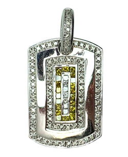14 KT - WHITE GOLD MEN DIAMOND DOG TAG PENDANT - 2.78 CT