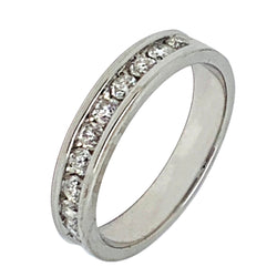 14 KT WHITE GOLD ROUND DIAMOND WEDDING BAND - 0.85 CT