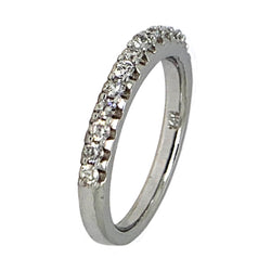 14 KT WHITE GOLD ROUND DIAMOND WEDDING BAND - 0.78 CT