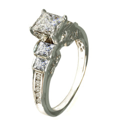 14 KT WHITE GOLD - DIAMOND PRINCESS ENGAGEMENT RING - 1.21 CT