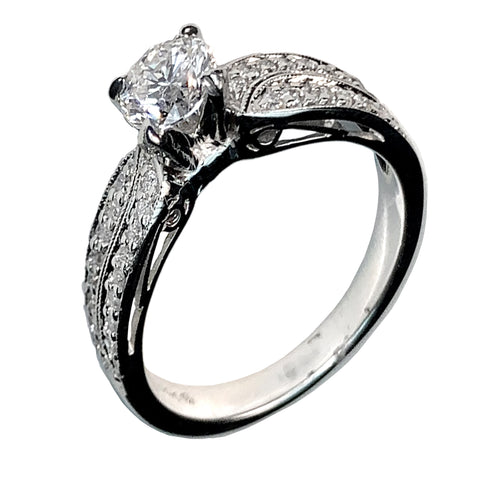 14 KT WHITE GOLD ROUND DIAMONDS ENGAGEMENT RING - 1.28 CT