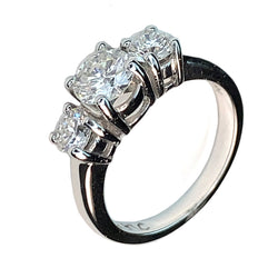 14 KT WHITE GOLD WONDERFUL 3 DIAMONDS ENGAGEMENT RING - 1.94 CT