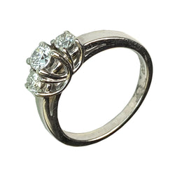 14 WHITE GOLD ROUND DIAMONDS 3 STONES ENGAGEMENT RING - 0.48 CT