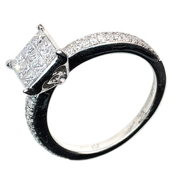 14 WHITE GOLD PRINCESS DIAMONG ENGAGEMENT RING - 1.26 CT