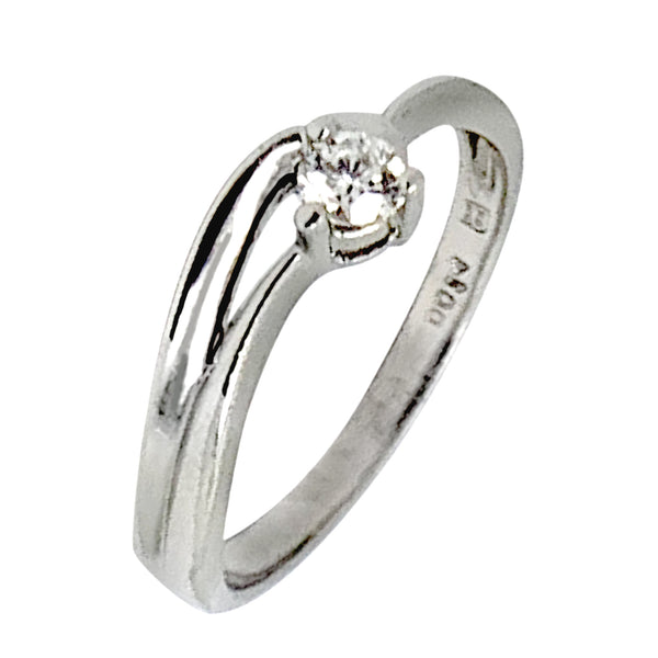 PLATINUM ROUND DIAMOND RING - 0.15 CT