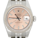Rolex Datejust Stainless Steel Salmon Stick Dial 18K Gold Fluted Watch 26mm