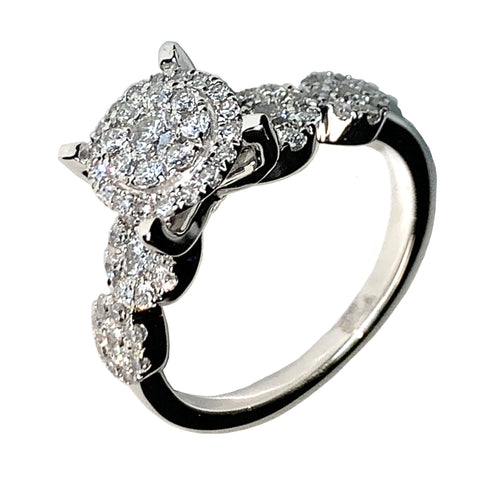 14 KT WHITE GOLD ROUND DIAMOND ENGAGEMENT RING - 0.75 CT