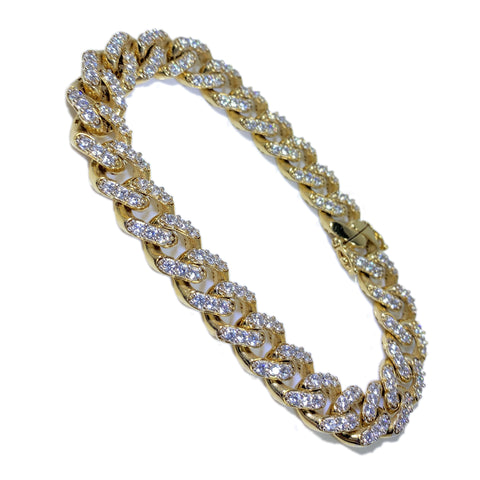 "14K Yellow Gold Cuban Link Men Bracelet 8.5"" 10.4mm"