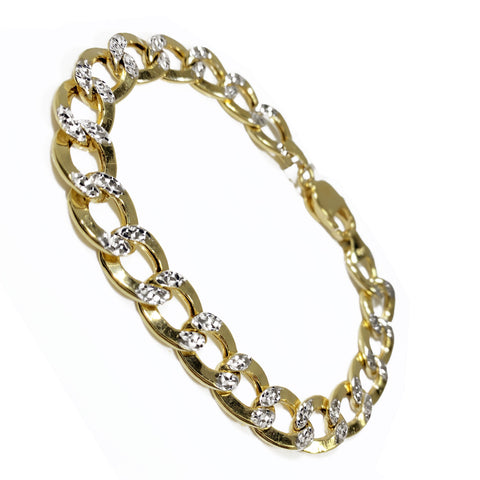 "10K Yellow Gold Cuban Link Men Bracelet 8.5"" 11mm"