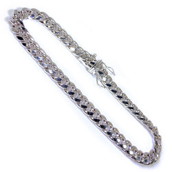 10K White Gold Men's Cuban Bracelet 9.5″ Inches  7mm