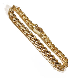 "10K Yellow Gold Cuban Link Men Bracelet 9"" 10mm"