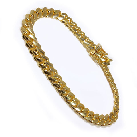 "10K Yellow Gold Cuban Link Men Bracelet 8.5"" 7mm"