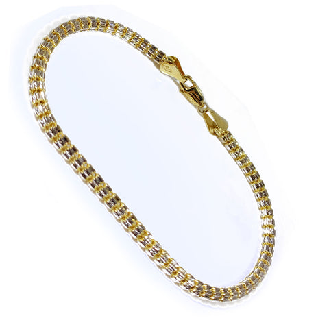 10K Yellow Gold Men's Fancy Disco Style Bracelet 7.5″ Inches