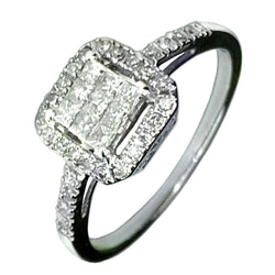 14 KT WHITE GOLD BEAUTIFUL ENGAGEMENT RING - 0.80 CT