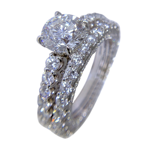 14 WHITE GOLD - DIAMONDS ENGAGEMENT RING AND WEDDING BAND SET - 11.39 CT