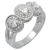 14K White Gold Fancy Womens Diamond Engagement Ring Band 1.38 Ct