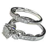 14 KT WHITE GOLD BRIDAL SET DIAMOND RING - 1.34 CT