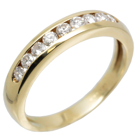 18K Yellow Gold Women Diamond Wedding Band 0.40 Ctw