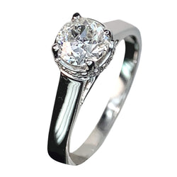 14 KT WHITE GOLD ROUND DIAMOND ENGAGEMENT RING - 0.92 CT