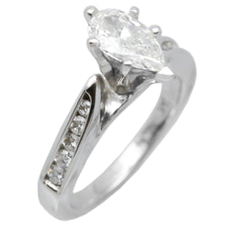 14K White Gold Fancy Womens Diamond Engagement Ring Band 1.22 Ct