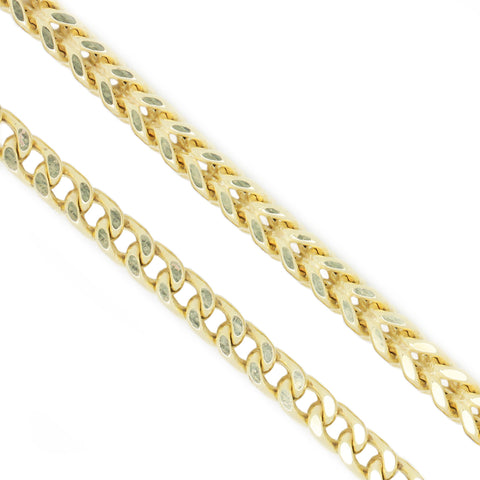 10K Yellow Gold 2.2 mm Franco Chain Necklace 28 Inches Diamond Cut