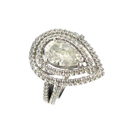 18 KT WHITE GOLD PEAR DIAMOND RING - 2.89 CT