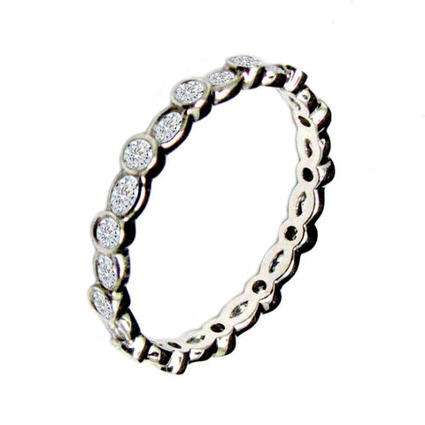 14 KT WHITE GOLD WOMENS WEDDING ETERNITY BAND - 1.27 CT