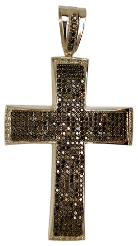 10 KT WHITE GOLD - BLACK & WHITE ROUND DIAMOND CROSS PENDANT MEN - 13.07 CT