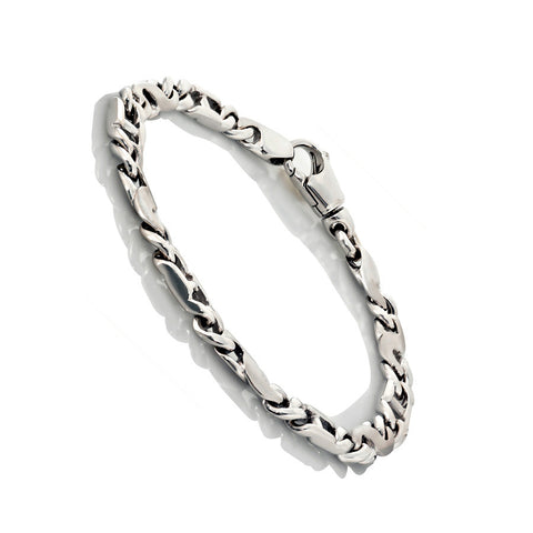 14K White Gold Mens Fancy Bracelets 8.5″ Inches