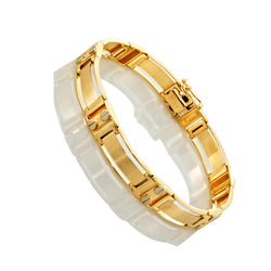14K Two Tone Gold Mens Fancy Cartier Bracelet 8.5″ Inches