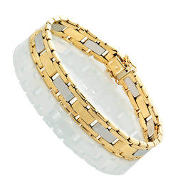 14K Two Tone Gold Mens Fancy Rolex Style Bracelet 8.5″ Inches