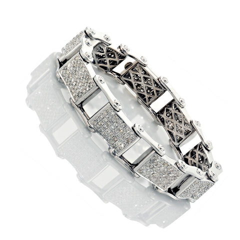 14K White Gold Mens Diamond Bracelet 10.23 Ctw