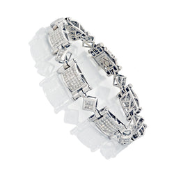 14K White Gold Mens Diamond Bracelet 10.41 Ctw