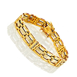 14K Two Tone Gold Men's Diamond Bracelet 1.32 Ctw