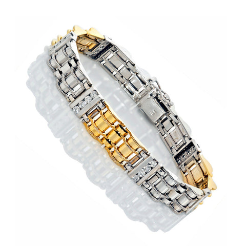 14K Two Tone Gold Men's Diamond Bracelet 2.00 Ctw