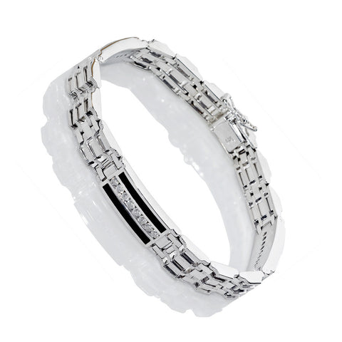 14K White Gold Mens Diamond Bracelet 1.62 Ctw
