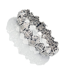 14K White Gold Mens Diamond Bracelet 5.00 Ctw