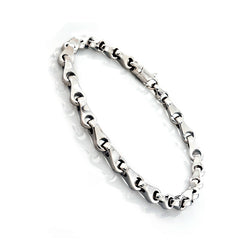 14K White Gold Mens Fancy barrel Link Bracelet 8.5″ Inches