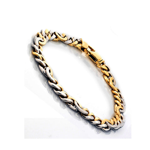 14K Two Tone Gold Mens Fancy Bracelet 8.5″ Inches