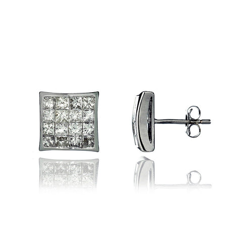 14K White Gold Diamond Cluster Stud Earrings 3.00 Ctw