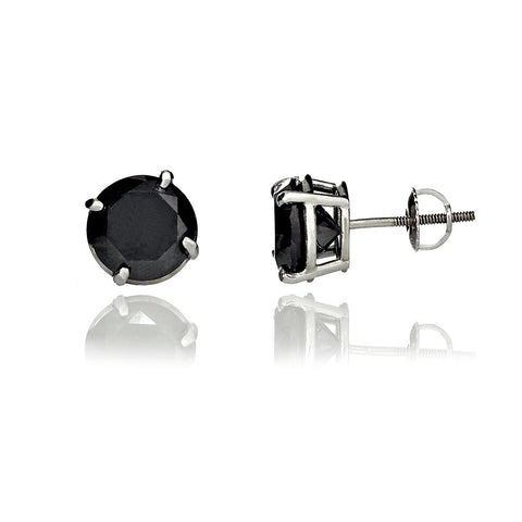 14K White Gold Black Color Enhanced Diamond Stud Earrings 8.24 Ctw