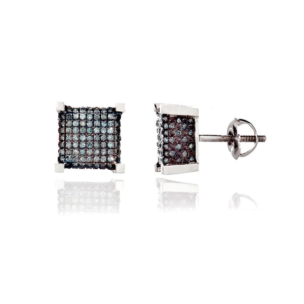 14K White Gold Blue Diamond Stud Earrings 0.78 Ctw