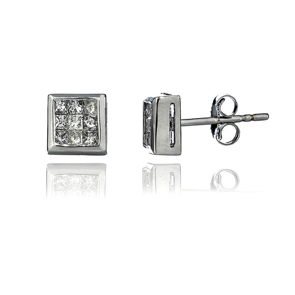 14K White Gold Diamond Cluster Stud Earrings 0.50 Ctw